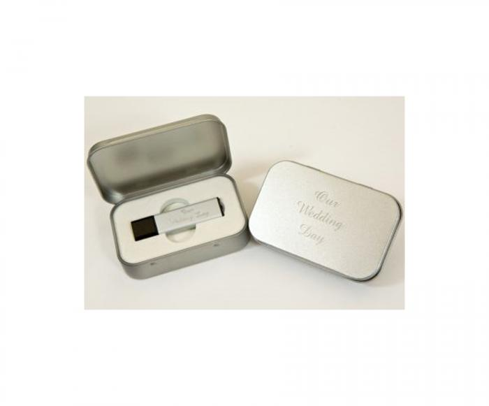 Personalised Wedding USB Stick and Metal Presentation Case