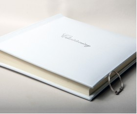 Christening Photo Album embossed in Silver with Gift Box