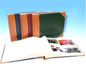"English Library Tan Spine/Corners - Classic Three - Traditional Photo Album - Page Size 13 3/4"" x 13 3/4"""