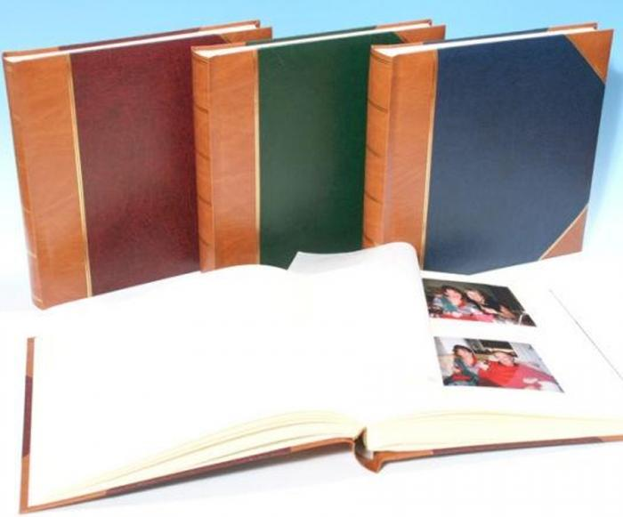 "English Library Tan Spine/Corners - Classic Two - Traditional Photo Album - Page Size 12 1/2"" x 12 1/4"""