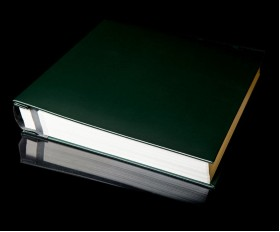 "Green Leather Self Adhesive Photo Album - Overall Page Size: 315 x 325mm, 12 1/4"" x 12 3/4"""