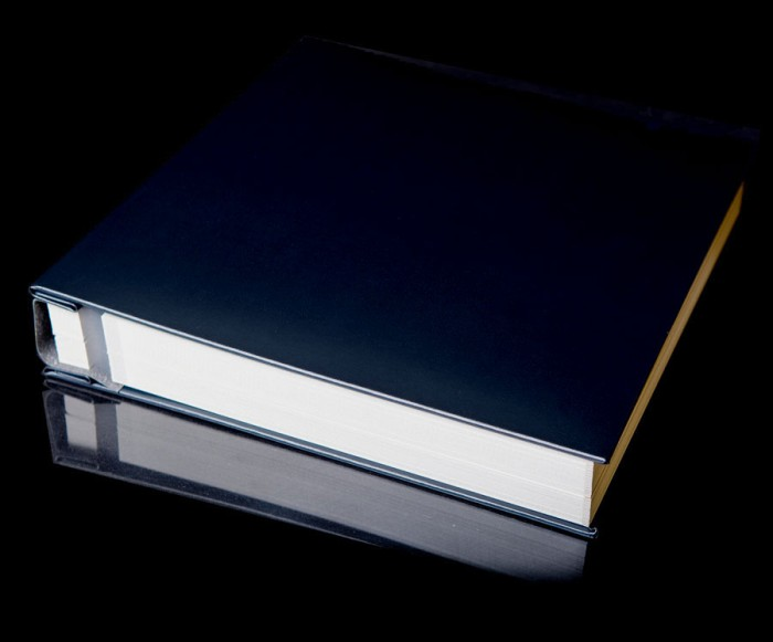"""Navy Blue Leather Self Adhesive Photo Album - Overall Page Size: 315 x 325mm, 12 1/4"""" x 12 3/4"""""""