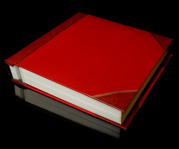 "Red Two-Tone Cover Self Adhesive Photo Album - Overall Page Size: 315 x 325mm, 12 1/4"" x 12 3/4"""