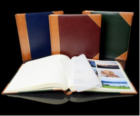 """English Library Tan Spine/Corners - Classic Three - Traditional Photo Album - Page Size 13 3/4"""" x 13 3/4"""""""