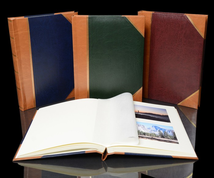"Traditional Photo Album - English Library Tan Spine/Corners - Classic One - Page Size: 8 1/2"" x 11 3/4"""