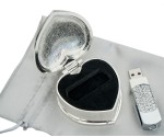 Silver Plated Heart Case with Diamonte USB Drive Stick
