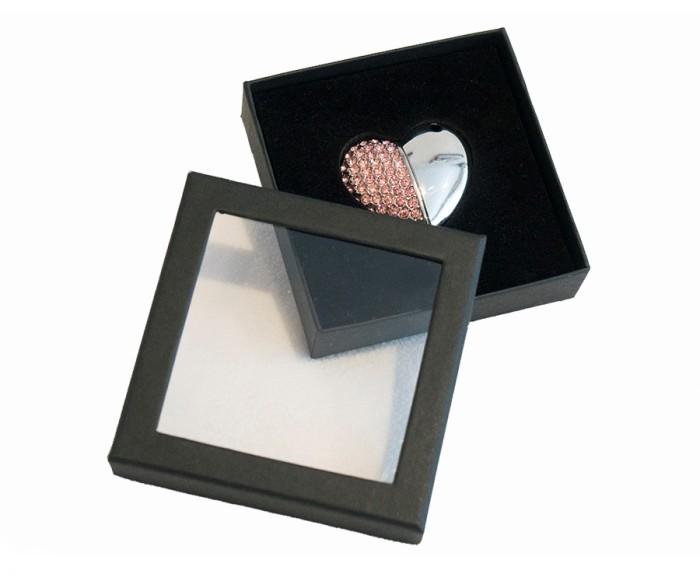 Heart Shaped USB Drive Stick and Black Presentation Case