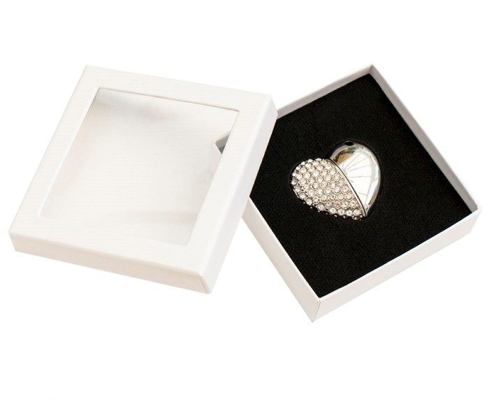 Heart Shaped USB Drive Stick and White Presentation Case