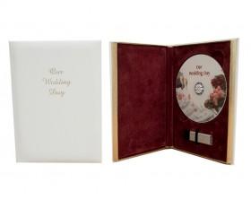 White Prestigious Single or Double DVD with USB 'Our Wedding Day' Case