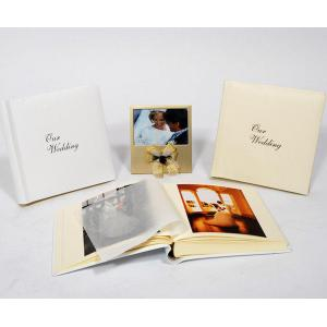 "Leather Wedding Photo Album - Classic 80 - Ivory White or Cream - Page Size 9"" x 8 3/4"""