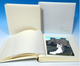 "Leather Wedding Photo Album - Classic Two - Ivory White or Cream - Page Size 12 1/2"" x 12 1/4"""