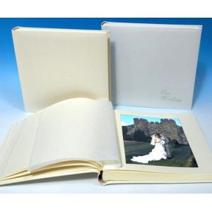 "Leather Wedding Photo Album - Classic Three - Ivory White or Cream - Page Size 13 3/4"" x 13 3/4"""