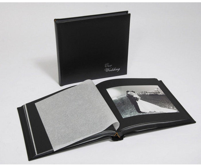 "Leather Wedding Photo Album - Classic Three - Black / Black Pages - Page Size 13 3/4"" x 13 3/4"""