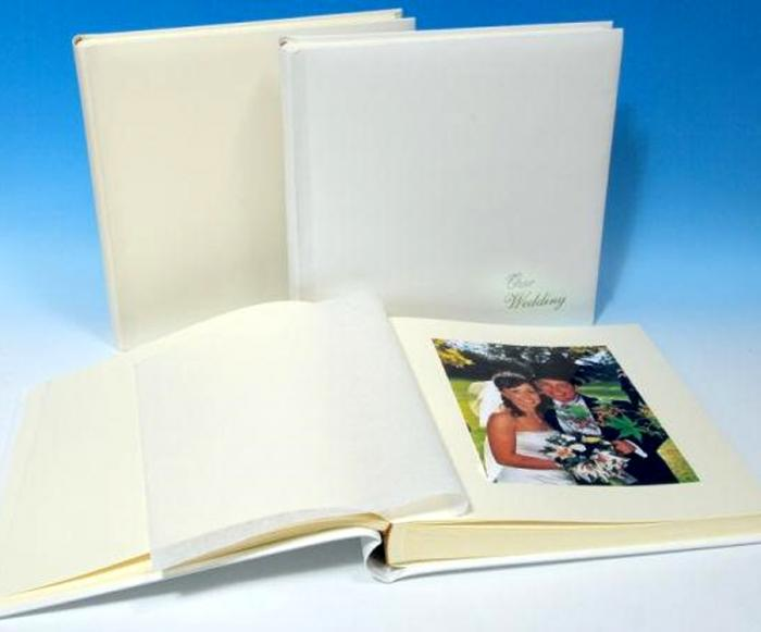"""Leather Wedding Photo Album - Classic Two - Ivory White or Cream - Page Size 12 1/2"""" x 12 1/4"""""""