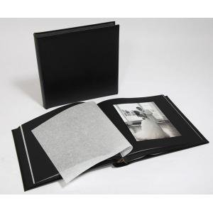 "Leather Wedding Photo Album - Classic 80 - Black / Black Pages - Page Size 9"" x 8 3/4"""