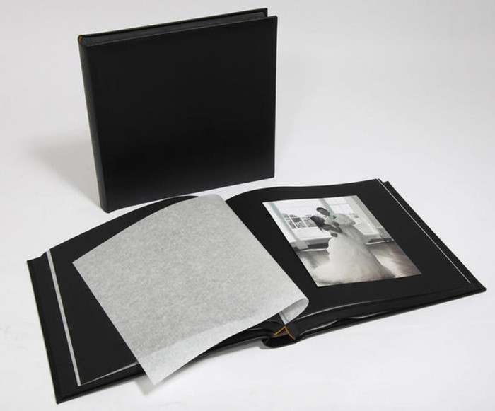 "Leather Wedding Photo Album - Classic Two - Black / Black Pages - Page Size 12 1/2"" x 12 1/4"""