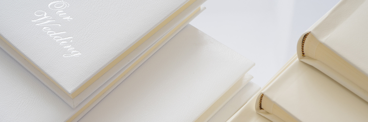 Personalised Leather Wedding Albums In Ivory White Cream And Black Uk